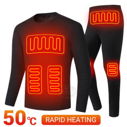 New Heating Cycling Jacket Men Heated Underwear Women Thermal Underwear Set Heating T Shirt Suit For Autumn Winter S-5XL