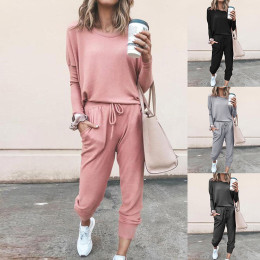 Two-piece soft jersey set,Household loose-fitting long-sleeve casual suit in pure