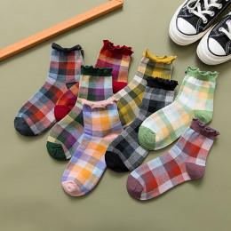 Retro Plaid Socks Women's Tube Socks Cotton All-match Cute Japanese thin Socks