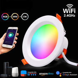 LED Downlight WiFi Smart APP Dimming Round Spot Light 7W RGB Color Changing Warm Cool light Work with Alexa Google Home