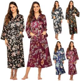 Kimono Robe Loose Female Bathrobe Gown Satin Sleepwear Intimate Lingerie Silky Bridal Party Gift Nightwear Casual Homewear