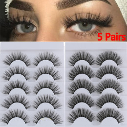 5 or 10 Pairs 3D Faux Mink Hair False Eyelashes Wispies Fluffies Drama Eyelashes Natural Long Soft Handmade Cruelty-free Black Lashes