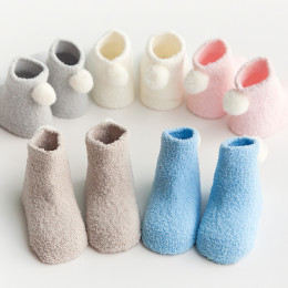 Autumn and winter thickened warm baby socks 0-1-3 year old baby solid color coral pompon ball newborn socks