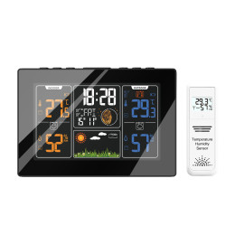 Color Weather Station + Outdoor Remote Sensor Thermometer Humidity Snooze Clock Sunrise Sunset Calendar