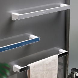 Perforation-free towel and bath towel storage rack for bathroom