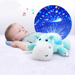 Plush hippo: Fill the children's room with starlight and sweet melodies with a hippo