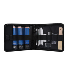 H&B 35pcs/set Professional Drawing Kit Pencils Sketch Charcoal Pencil Painting Tool Art Supplies with Carrying Bag