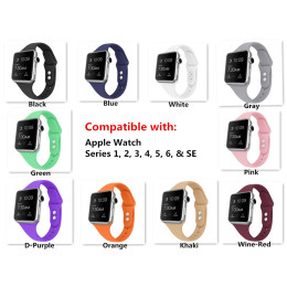 Silicone Sport Replacement Band for Apple Watch Series 1, 2, 3, 4, 5, 6, & SE,(Only accessory strap,without movement)