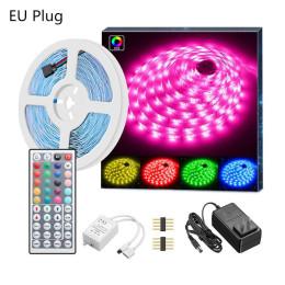 LED Strip Lights RGB 5050 SMD Flexible Ribbon Waterproof RGB LED Light 5M 10M Tape Infrared remote control light strip-EU plug