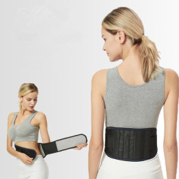 Back belt with self-heating for the lower back and waist.