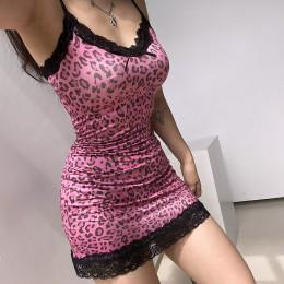Y2K-Leopard Print Lace Party Dresses Spaghetti Straps Mini Dress V Neck Lace Hem A Line