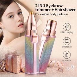Women Mini Painless Portable Electric Epilator Hair Trimmer for Eyebrow Eye Forehead Body Facial Hair Remover 2 in 1