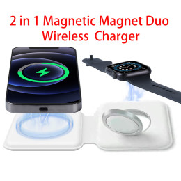 Foldable Wireless Charger Magnetic Charging Dock for iPhone 12 Pro Max Mini for Apple iWatch Magsafe Induction Chargers