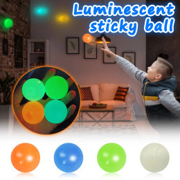 Stress Relief Ball 5pc Stick Wall Ball Glowing Globbles Fidget Toy