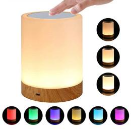 Led Colorful Creative Wood Grain Night Light touch pat night light