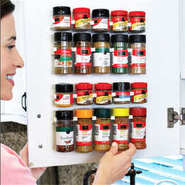 4 Layers Spice Rack Organizer Wall Cabinet Door Hanging Spice Jars Clip Hooks Set