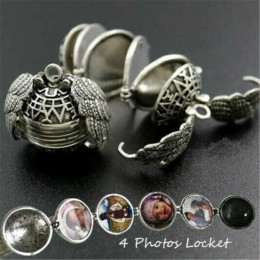 Expanding Photo Locket Necklace Pendant Choker Angel Wings