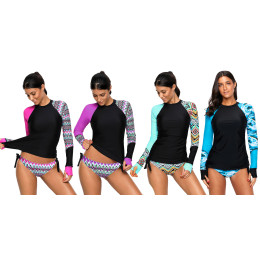 Women Swimwear Long Sleeve  Surfing Top Colorblock Swimsuit