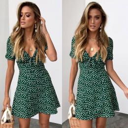 Polka Dot V-neck Short Sleeve Dress