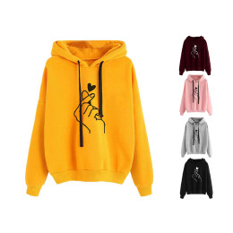Women Hoodie Sweatshirts Finger Pattern Drawstring Long Sleeve Pullover
