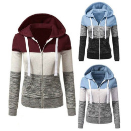 Plus Size Women Casual Patchwork Colorful Thin Zip-Up Hoodie Jacket