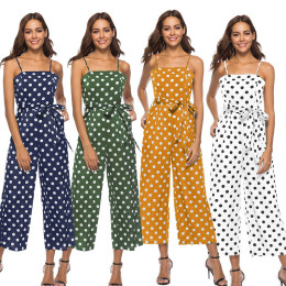 Sleeveless Waist Belted Casual Polka Dot Jumpsuit