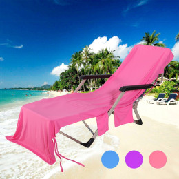 Quick-drying Sun Lounger Beach Towel with Two Pockets and Bag Ice towel