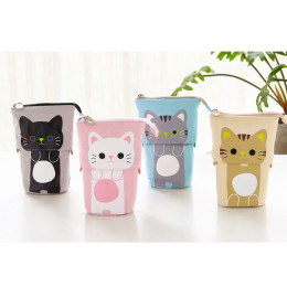 Multifunctional cute pencil case retractable stationery bag pen holder