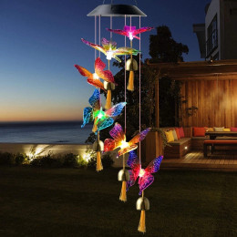 Led solar butterfly colorful color changing bell wind chime lamp