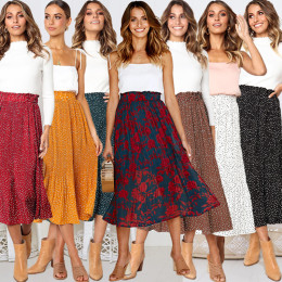 Floral Print Pleated Midi Skirt Women Elastic High Waist Side Pockets Skirts