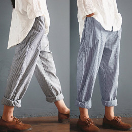 Pockets Loose Striped Cotton Linen Long Harem Pants