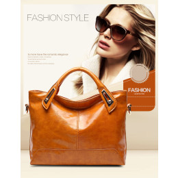 Women Oil Wax PU leather Designer Ladies Handbags