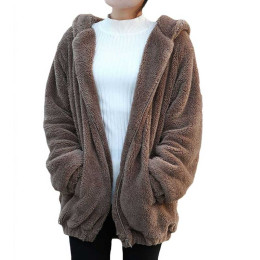 Women Hoodies Zipper Loose Fluffy Bear Ear Hoodie Hooded Jacket