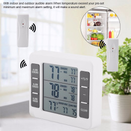 Wireless Digital Audible Alarm Refrigerator Thermometer