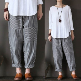 Women Elastic Striped Pockets Loose Casual Long Pants Trousers