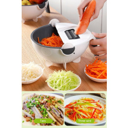 Multi-functional Kitchen  Magic Rotate Vegetable Cutter with Drain Basket