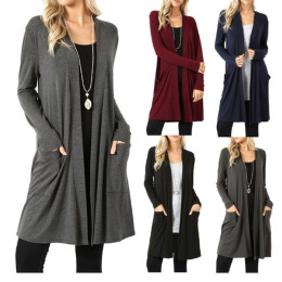 Women Long Maxi Open Long Sleeve Top Plain Ladies Cardigan
