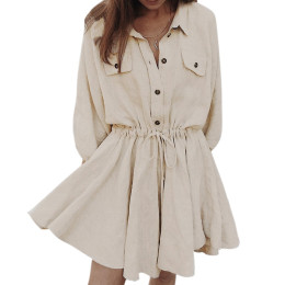 Women Long sleeve Elegant linen short shirt dress