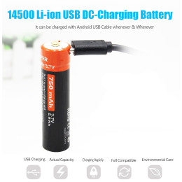 DOUBLEPOW USB micro 3.7V 750mAh 14500 AA li ion rechargeable battery