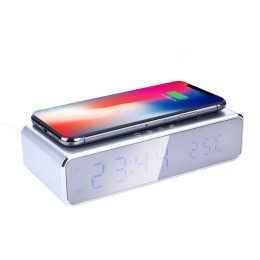2-in-1 LED Alarm Clock with Wireless Charger