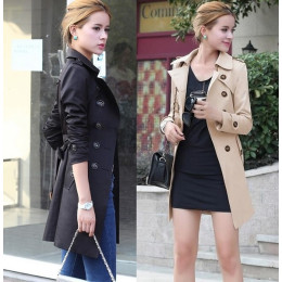 Women's Fashion Trench Coat Slim Fit Jacket Medium-Long Windbreaker Coat