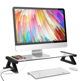 Multi-function Monitor Laptop Stand Tempered Glass Computer Desk USB 2.0
