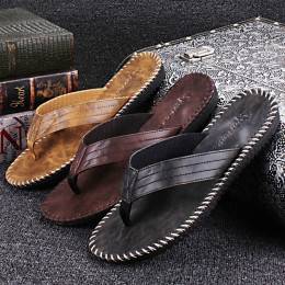 Summer Cool Men PU Leather Flip Flops