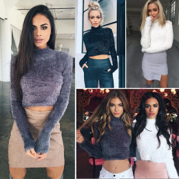 Winter Women Wool Cropped Jumpers Fluffy Mohair Sweater