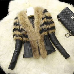 Women Winter Faux Leather Fur Luxury Jacket Warm Coat Outwear Parka
