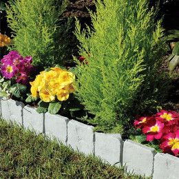 Garden Fence Edging Cobbled Stone Effect Plastic Lawn Edging