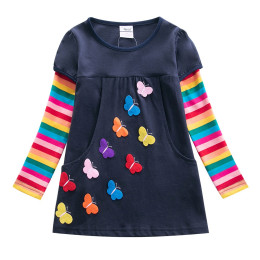 Girls butterfly embroidery long sleeves