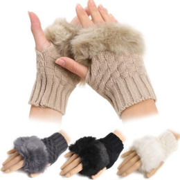 Cute Girl Warm Fingerless Patchwork Faux Rabbit Fur Knitted Wrist Gloves Mittens