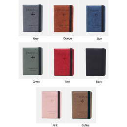 RFID Vintage Business Passport Covers Holder Multi-Function ID Bank Card Women Men PU Leather Wallet.