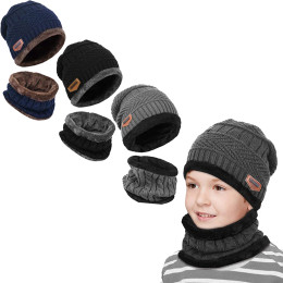 2in1 Kids Knitted Beanie Hat and Circle Scarf Sets